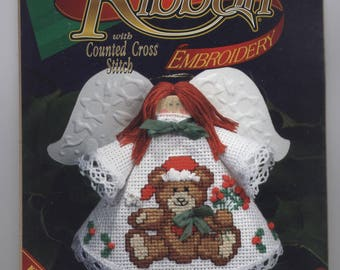 Teddy Bear Angel Clothespin Doll Ornament Counted Cross-Stitch & Ribbon Emboridery Kit