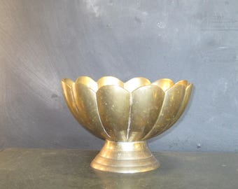 Vintage Brass Pedestal Bowl Planter Pot