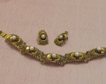 Vintage Damascene / Toledo Bracelet and Earrings with Faux Pearls