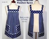 Loose Fitting Pinafore Apron, no tie apron, Navy Polka Dot Farmhouse Smock, comfortable all day apron, made-to-order XS to Plus Size retro