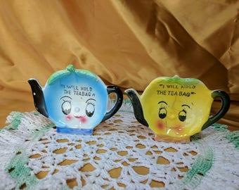 PICK 1 Anthropomorphic I Will Hold The Teabag Vintage Tea Bag Holder Blueberry Lemon *eb
