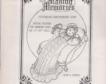 """Making Memories Sewing Pattern for Newborn Baby or 17""""- 20"""" Doll - Victorian Christening Gown & Bonnet"""