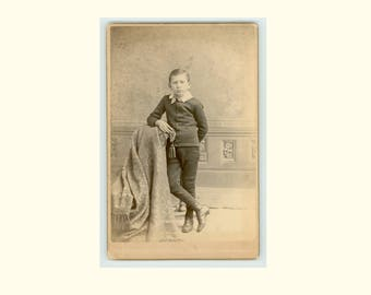 Future Master of the World, Antique Photograph Cabinet Card circa 1885 Perry Photograph Gallery Schenevus NY