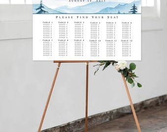Printable Wedding Chart - Blue Mountaintops (Style 0027)