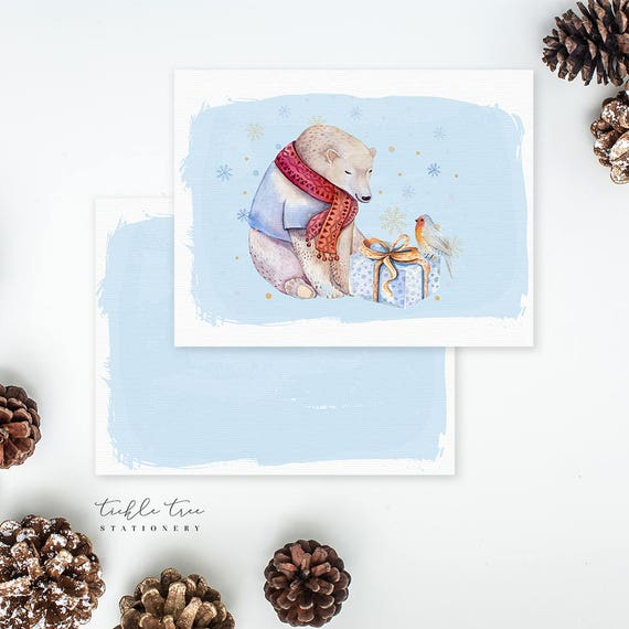 Christmas Flat Note Cards - A Beary Holiday to You!