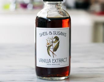 Homemade Vanilla Extract Labels or Tags,Personalized, Set of 18