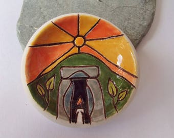 Ceramic Pottery Earth Mound Dish, Burial Mound Bowl, Ancient Landscape, Tea Light Holder, Ring Dish, Trinket Dish, Small Offering Bowl