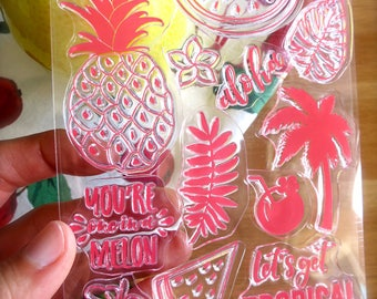 Tropical Rubber Stamps-Pineapple-Watermelon-Aloha-Palm Leaf-Coconuts-Palm Tree-Flowers-Set of 12 Clear Rubber Clings-Hawaiian-Summer Stamps
