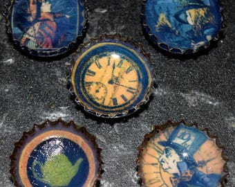 Set of 5 Alice In Wonderland Handmade Bottle Cap Magnets