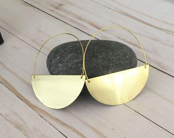 Gold Statement Earrings, Half Circle Hoops, Brass Earrings, Half Moon Earrings, Geometric Earrings, Minimalist Earrings, Half Moon Hoops
