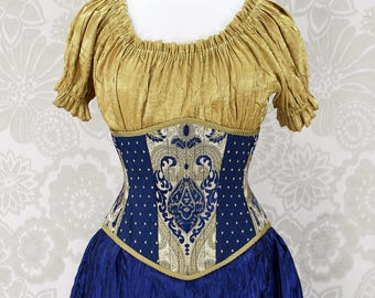 """Steampunk Renaissance Blue & Gold Steel Boned Waspie Corset w/Solid Front -- Corset Size 30, Fits Waist 33""""-33"""" -- Ready to Ship"""