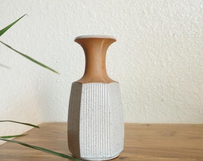Japanese Two Toned Colorblock Stoneware Vase - National Silver Company Nagoya Japan