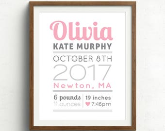 View nurserynew baby gifts by papermintsshop on etsy custom birth print poster baby gift nursery wall art print baby name and negle Choice Image