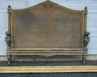 vintage french style hand carved wood bed,gilted cane rococo style,headboard,footboard and side rails,hand crafted wood,vintage european bed