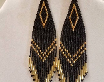 Native American Style Beaded Black and Gold Earrings Shoulder Duster Boho, Southwestern, Hippie Long, Brick Stitch, Peyote, Great Gift