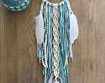 Turquoise Dream Catcher // Macrame Wall Art Decor, Ivory Mint Green Aqua Yarn, Blue Crystal Stone, White Feather, Boho Teen Girl, Nursery