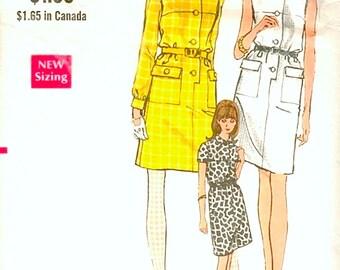 Great Vintage 1960s Vogue 7301 Straight Step In Button Front Shirtwaist Dress, Shirtdress Sewing Pattern B34