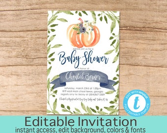 Boy Pumpkin Baby Shower Invitation, Baby Boy Invitation, Fall Shower, Greenery, Blue Floral, Pumpkin Shower, EDITABLE, Instant Download