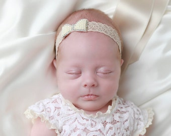 Lace Headband with a Pearl & Rhinestone Bow for newborns to adults perfect for photoshoots, bebe, newborn headband, Lil Miss Sweet Pea