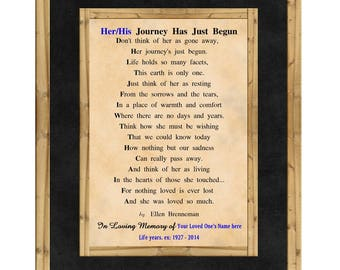 "8x10 Bereavement Poem Art Print ""Their Journey Has Just Begun"" Encouragement Gift, Funeral Memorial Poem, Comfort Gift AP-226"