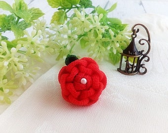 Red Camellia Kanzashi Flower Lapel Pin, Flower Tie Tack Pin, Mens Womens Lapel Pin, Wedding Boutonniere, Kanzashi, Gift for Her/ Him