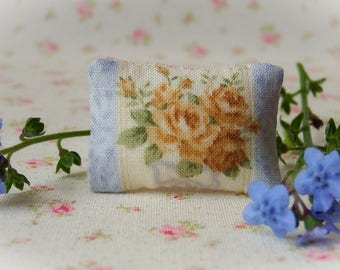 Miniature Pillow One inch scale, blue and gold floral, dollhouse pillow, French style miniature