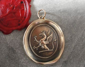 Griffin Wax Seal Pendant - Strength Courage Boldness - antique wax seal jewelry charm Mythical Gryphon by RQP Studio