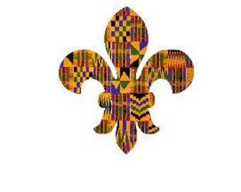 Adhesive Decal Kente Cloth Serengeti Pattern Fleur De Lis Sticker - Decal For Car, Decal For Yeti, Sticker For Yeti, Sticker For Car