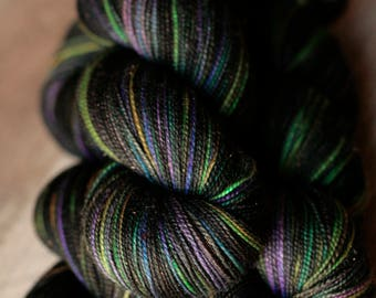 "Sock yarn - 75/20/5 SW Merino/Nylon/Stellina - Autocorrect - ""Total Lack Of Manors"""