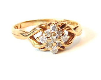 Sale! Vintage .33 Carat Diamond Cluster Ring in 14K Yellow Gold
