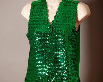 Shimmery Emerald Green Sequins Sleeveless Top stretchy