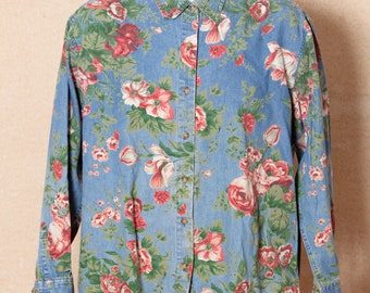 Vintage 80s 90s Women's Floral Button Top denim - CABIN CREEK