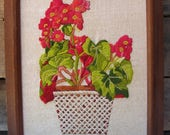 Vintage Stitched Floral Wall Art, Framed Retro Yarn Art, Brown Wall Decor, Retro Yarn Art, Coral Green Floral Art, 9 1/2 by 11 1/2 Wood