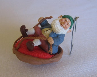 "Vintage Hallmark Elf Ornament / ""Walnut Shell Rider"" / Vintage 1986 / Vintage Christmas / Tree Ornament / Elf Ornament / Kids Tree Decor"
