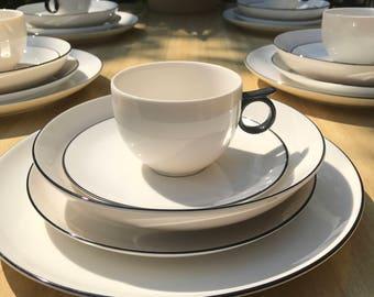 Black and White China Set, Black and White Dish Set, Black and White Dinnerware, Studio Nova, Modern Dish Set