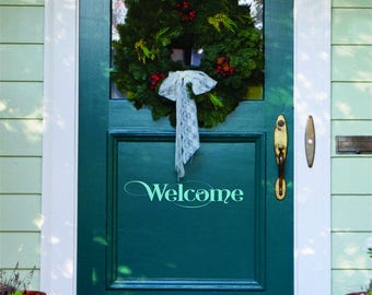 Welcome Decal // Welcome // Door Wall Decal // Welcome Vinyl Lettering for Door // Front Door Decals