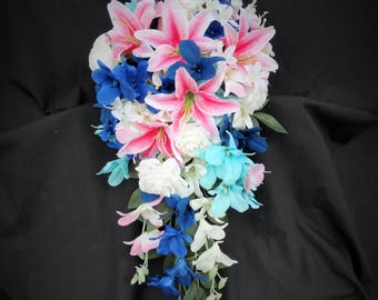 Bridal cascading bouquet with pink tiger lilies, navy, white, turquoise orchids, real touch roses, artificial flower bouquet