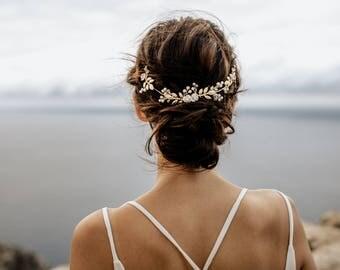 "Wedding Hair Accessory, Beaded Headband, Bridal Headband, Crystal Halo, Boho Bridal Crown ""Elli"""