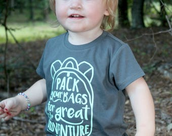 Pack your bags for a great adventure | Vinyl tee - Kids comfy tee - Summer - Crew neck kids t shirt - Everyday Tee - Girl's or boy's shirt