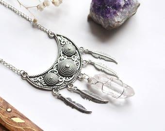 Crystal Boho Necklace, Half Moon Necklace, Quartz Point Necklace, Feather Bohemian Necklace, Clear Quartz Necklace, Long Boho Necklace,