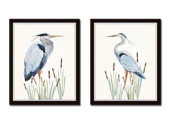 Watercolor Heron Print Set No. 1, Bird Prints, Giclee, Art Print, Coastal Art, Wall Art, Coastal Decor, Beach Cottage Decor, Nautical Art