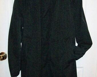 Vintage 1950s Men's Black Top Coat Raincoat Medium Only 15 USD