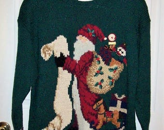 Vintage Ladies Green Ugly Christmas Santa Sweater by Marisa Christina Classics Large Only 10 USD
