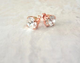 Rose gold stud earrings,Gold crystal earrings, 8mm crystal Studs,Swarovski stud crystals,Brides earrings,Bridesmaids stud earrings, SOPHIA