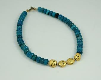 "Deep Blue Agate & Gilded Gold Necklace, 23 Karat Gold leaf on Lava Stone, Faceted Blue Agate, 14 Karat Gold Filled Toggle Clasp, 18.5"""