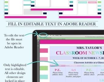 Classroom Newsletter, Classroom Organization, School Newsletter Template, Classroom Printables, Teacher Organization, Teacher Printable, PDF