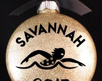 Swimming Christmas Ornament, Swim Team Christmas Ornament