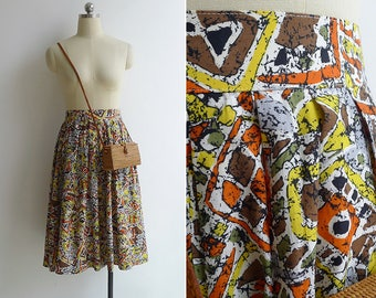 Vintage 80's 'Afrikka' Ethnic Print High Waist Pleated Skirt XS S M
