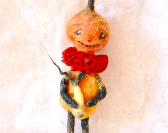 Spun cotton veggie girl pumpkin head Halloween feather tree OOAK vintage craft ornament by jejeMae