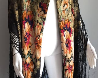 Stunning 1930's Lame Floral Shawl
